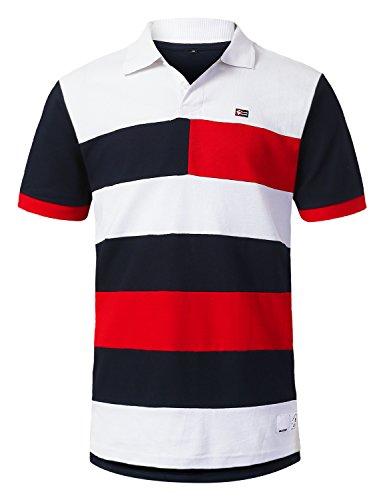 URBANCREWS Mens Hipster Hip Hop Cut and Sewn Striped Polo T-Shirt RED, L by URBANCREWS