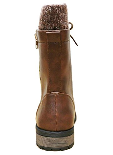 Cambridge Select Femmes Combat Militaire Bout Rond Lace Up Tricot Pull Boot Tan Pu