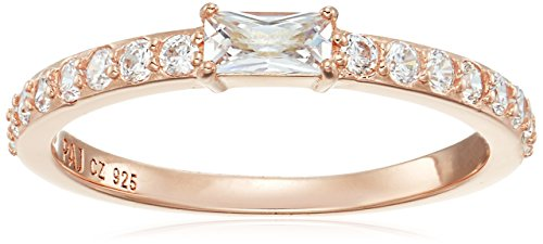 Genuine Rose Gold Plated Sterling Silver Modern Center Baguette Pave Band Cubic Zirconia Stacking Band Ring, Size 7