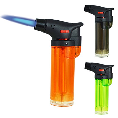 Read About Gibson 3 Pack Maxi Torch Jet Flame Refillable Butane Lighter Bundle (One of Each Color)
