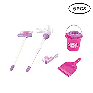 KOBWA Mom's Big Helper Cleaning Toy Set, Pretend Play Kids Cleaning Set Includes Broom, Mop, Bucket, Dustpan and Brush