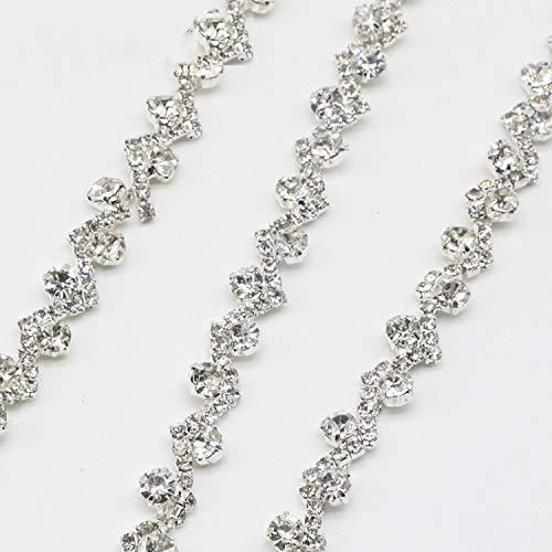 Silver Rhinestone Chain Trim 1 Yard Crystal Beaded Trim with Clear Crystals Diamant Chain for DIY Wedding Dress Belt Bags ()