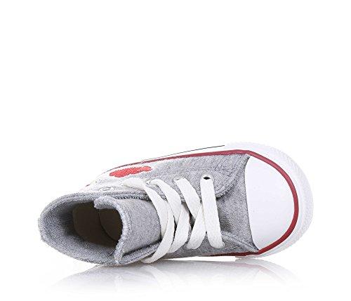 CONVERSE - Zapatilla gris de cordones, de tejdo, con estampados decorativos en ambos lados y en la lengueta, cordones blancos, punte de caucho, Niña, Niñas gris