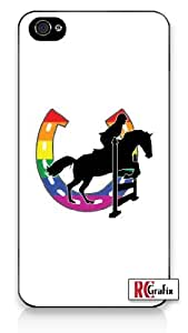 Gay Pride Rainbow GLBT Horse Equestrian Jumper Apple iPhone 5C Quality Hard Snap On Case for iPhone 5c/5C - AT&T Sprint Verizon - White Case
