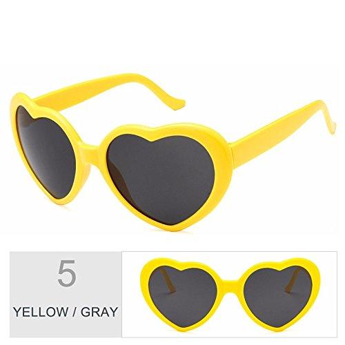 de mujer TL Gray sol sol Cute Vintage mujer Sunglasses gris gafas gafas Yellow corazón rosado de IIrPF