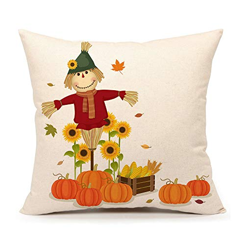 4TH Emotion Fall Pumpkin Scarecrow Throw Pillow Cover Autumn Thanksgiving Cushion Case for Sofa Couch 18