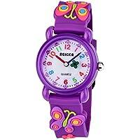 Zeiger Watches for Girls Time Teacher Watch Kids Children Easy Read Analog Quartz Wrist Watch with Lovely 3D Butterfly Strap Purple