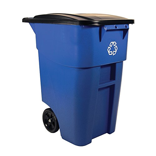 Rubbermaid Commercial BRUTE Heavy-Duty Rollout Waste/Utility Container, 50-gallon with Recycling Logo, Blue, (Curbside Recycling Containers)