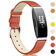 findway Compatible with Inspire HR Bands/Inspire Band, Inspire Replacement Accessories Classic Leather Bracelet for Women Men Sport Wristbands Breathable Strap for Inspire HR Fitness Tracker