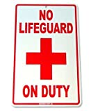 No Lifeguard On Duty Aluminum Street Sign, Funny Decorative Yard Signs for Outdoors Home Metal Aluminum Wall Sign Reflective Safety Sign 12 x 18 inch