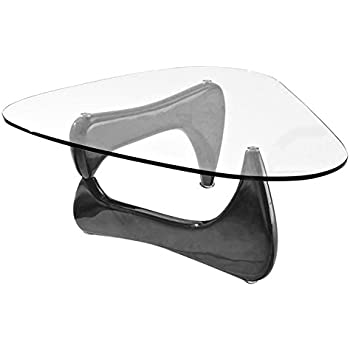 Fab Glass And Mirror Noguchi Style Coffee Table With Clear Glass Top Black