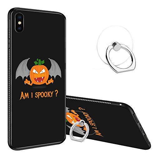 iPhone XR Case Tempered Glass Back Cases, Fashoin Design Funny Spooky Halloween Pumpkin Soft TPU Bumper Frame Case for Apple iPhone XR ()