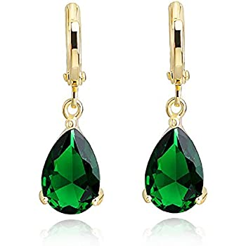 Teardrops Dangle Earrings with Green Simulated Emerald Zirconia Crystals 18 ct Gold Plated Hoop for Women yd996m