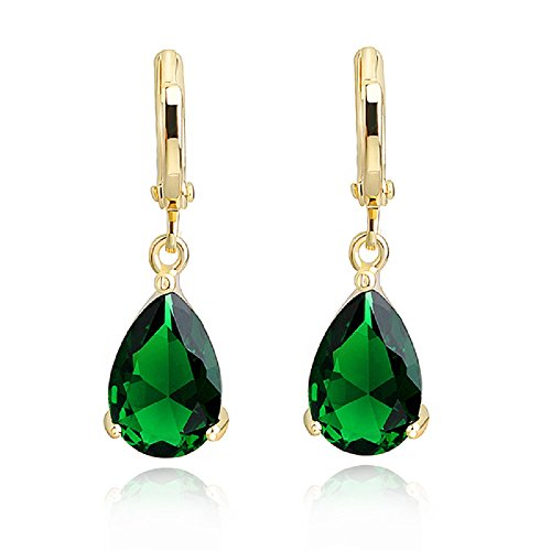 Teardrops Dangle Earrings with Green Simulated Emerald Zirconia Crystals 18 ct Gold Plated Hoop for Women