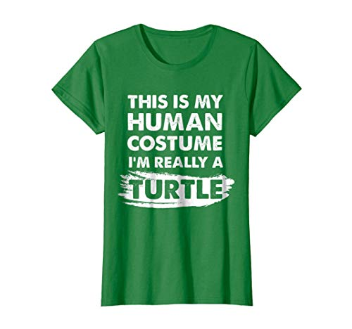Womens This Is My Human Costume I'm Really a Turtle Halloween Shirt XL Kelly Green