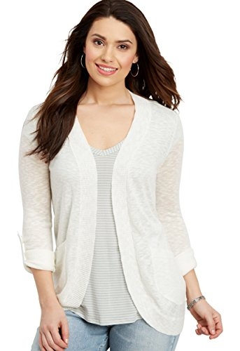 maurices Women's Roll Tab Sleeves Cardigan XX Large Soft White Roll Sleeve Cardigan