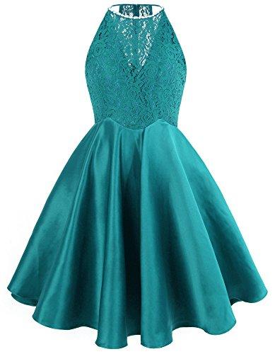 Licol Perles-mode Ange Dentelle Satin Courte Robes De Cocktail De Bal Vert Bleu