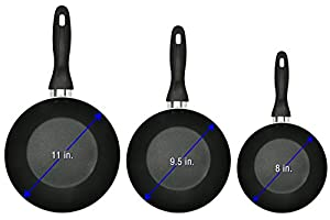 Aluminum Nonstick Frying Pan Set - 3 Piece (8 Inches, 9.5 Inches, 11 Inches) - Cookware Set - Dishwasher Safe - by Lux Decor Collection