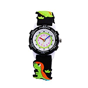 Children Kids Toddler Watches Time Teacher Watches, Cartoon Character 3D Silicone Band Watches