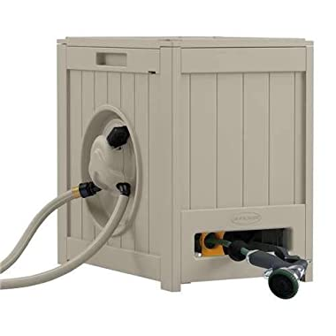 Suncast Aquawinder 125' Garden Hose Reel - Lightweight Portable Hands - Free Water Powered Retractable Hose Reel - Taupe