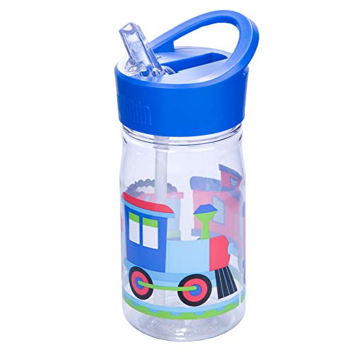 Wildkin 96079 Water Bottle, for School Kindergarten Boys and Girls, 16 Oz Olive Kids Design Features Flip Straw, Top Carrying Handle, 1, Trains, Planes, and Trucks