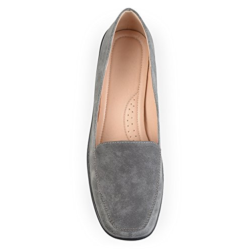 Brinley Co Womens Comfort Sole Faux Suede Square Toe Loafers Grey 7wx68o