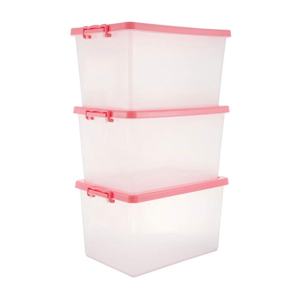 MYQ 収納ボックス ストレージボックス、3パックの家庭用ストレージボックスプラスチックの厚いストレージボックスの服のキルトのおもちゃのストレージボックス 化粧品収納ボックス (色 : ピンク) B07QN4PFPQ ピンク