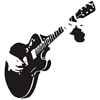 Perfect Musician Gift WickedGoodz Die Cut Black and White Guitar Vinyl Decal Music Bumper Sticker