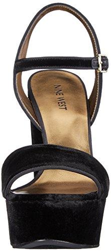Nine West Clavel Tela sandalia de la plataforma Black Velvet