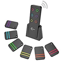 Key Finder, Esky Wireless RF Item Locator Item Tracker Support Remote Control,1 RF Transmitter and 6 Receivers - Wireless Key RF Locator, Pet Tracker Wallet Tracker (Black- 6 receivers)