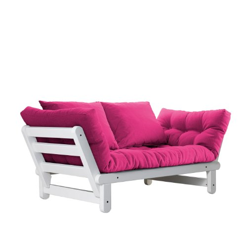 Fresh Futon Beat Convertible Futon Sofa/Bed, White Frame, Pink Mattress Review