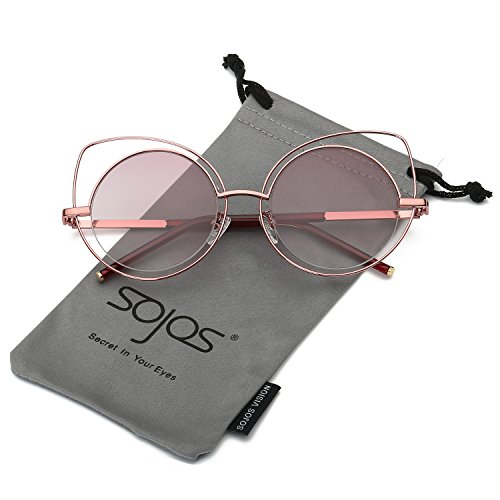 SojoS Women's Metal Frame Cutout Hollow Out Round Cat Eye Sunglasses SJ1046 (Pink/Red, - Hut Contact Sunglass Us