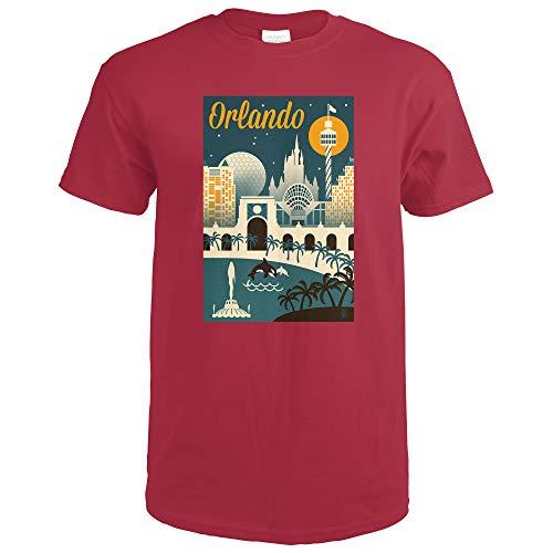 Orlando, Florida - Retro Skyline 56055 (Cardinal Red T-Shirt XX-Large)