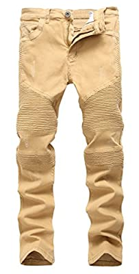 OKilr Pjik Men's Fashion Khaki Skinny Fit Casual Distressed Stretch Biker Denim Jeans