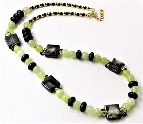 (New Serpentine Jade, Black Agate and Ceramic Beaded Necklace)