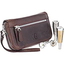 TRUMPET MOUTHPIECE QUAD POUCH.Small Brass Multiple (4-Piece) CRAZY HORSE LEATHER. KGUBRASS