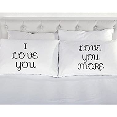 I Love You and Love You More Decorative Pillowcase Set (Black)