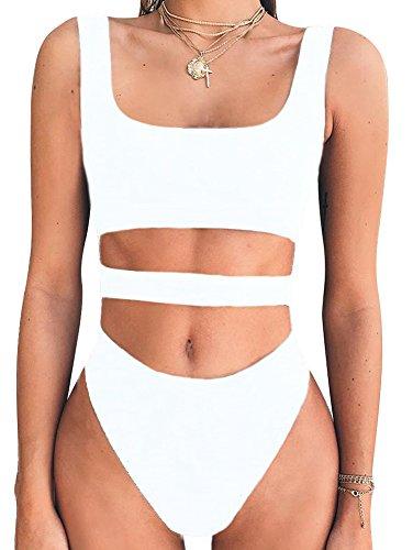 BEAGIMEG Women's Tank Top Cut Out Sleeveless Bodice Bodysuit Party Clubwear White