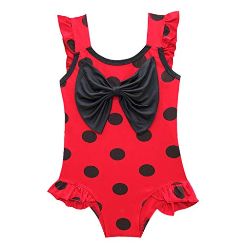 16ac309e1194e 2019 New Baby Girl Swimwear Dot Print Big Bow One Piece Bathing Suit  Outfit(Red