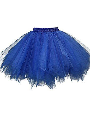 Kileyi Womens Tutu Costume Adult Party Dance Tulle Skirt Short Fluffy Petticoat Royal Blue S