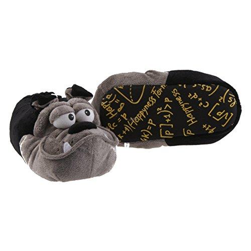 Sams Chaussons Animaux Bulldog Noir, Gris, drôle humoristique chaud, Th-HGB SG