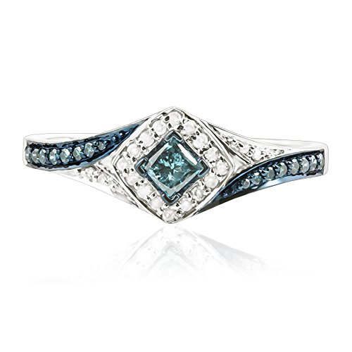 Prism Jewel 0.50Ct Princess and Round Shaped Blue Diamond with Diamond Engagement Ring