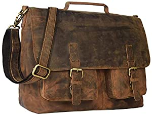 "18"" Inch Retro Buffalo Hunter Leather Laptop Messenger Bag Office Briefcase College Bag Leather Bag for Men and Women"