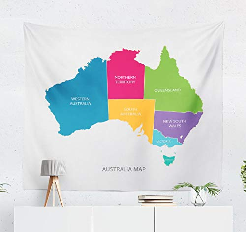 ASOCO Tapestry Wall Hanging Australia Map Color with Flat State Australian Wall Tapestry for Bedroom Living Room Tablecloth Dorm 60X50 Inches(Australia Map) (Map Of Sydney Australia And Surrounding Area)