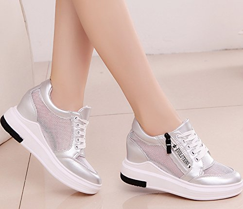 VECJUNIA Ladies Classics Shoes Lace Up Wedge Platform Sneakers Casual Running Breathable Outdoor Trainers Silvery PgHkr