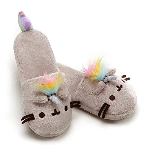 GUND Pusheenicorn Pusheen Plush Stuffed Unicorn Cat Slippers, Gray 12