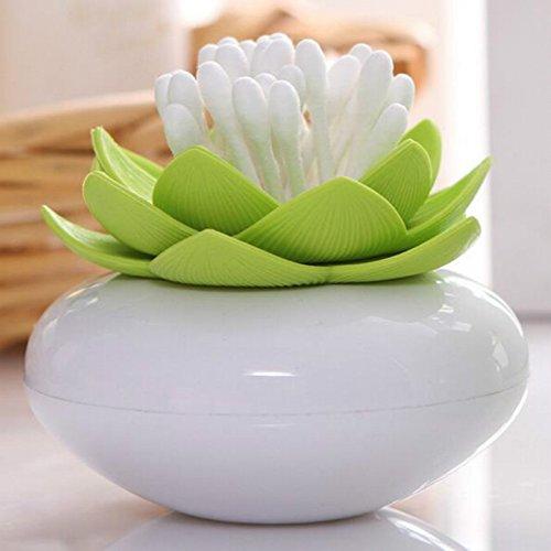 Boîte Ou Distributeur De Coton Tiges Fleur Lotus Vert, L