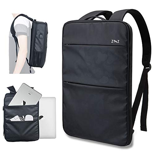 Slim & Expandable Laptop Backpack 15 15.6 16 Inch Sleeve with USB Port, Spill-Resistant Notebooks Bag Case for Most 14-16 Inch MacBooks Surface-Books Dell HP Lenovo Asus Computers, Black Camouflage