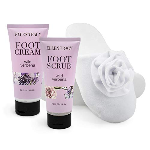 Ellen Tracy Foot Care Collection, 3 Piece Set of Cozy Spa Slippers, Foot Scrub and Foot Creme, Perfect Holiday Gift Set for Women and Girls (Wild Verbena)