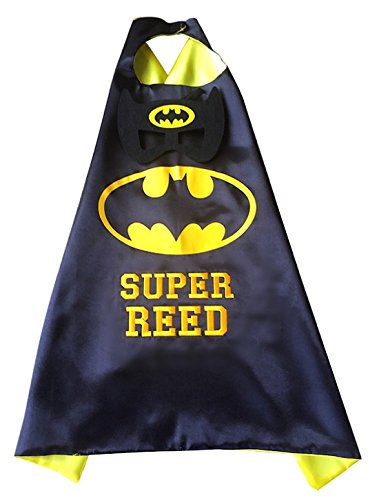 Thimbleful Threads Personalized Superhero Cape and Mask Set by (Boy Bat Cape with Yellow Embroidery) -